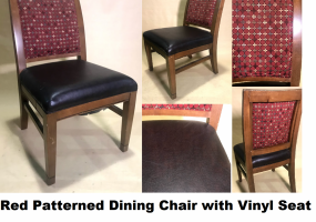 Red-Patterned-Dining-Chair-with-Brown-Vinyl-Seat