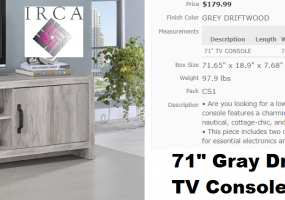 71-Inch-Gray-Driftwood-Console