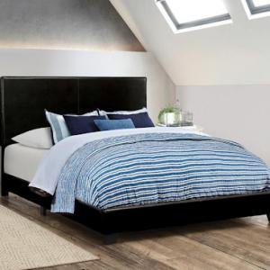 BLACK VINYL QUEEN UPHOLSTERED BED