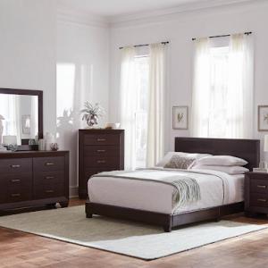 QUEEN BROWN VINYL UPHOLSTERED BED