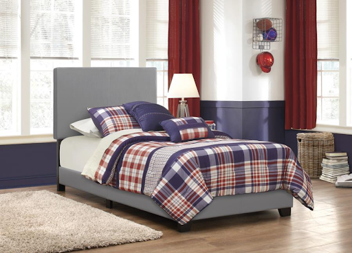 TWIN GRAY VINYL UPHOLSTERED BED