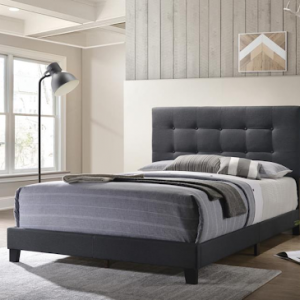 QUEEN UPHOLSTERED BED CHARCOAL GRAY