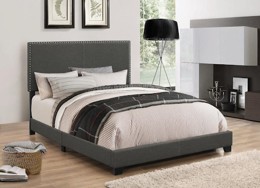 CALIFORNIA KING BOYD CHARCOAL BED WITH NAILHEADS
