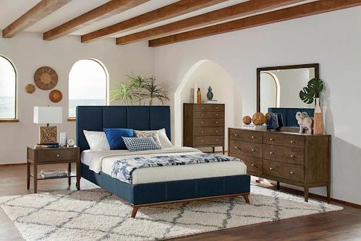 QUEEN BLUE MID-CENTURY MODERN BED