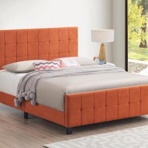 ORANGE UPHOLSTERED TWIN BED