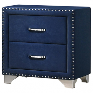 PACIFIC BLUE UPHOLSTERED NIGHTSTAND WITH NAILHEADS
