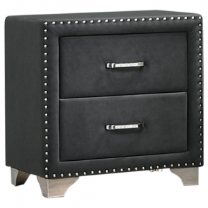 GRAY UPHOLSTERED NIGHTSTAND WITH NAILHEADS