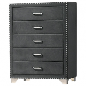 GRAY UPHOLSTERED CHEST OF DRAWERS WITH NAILHEADS