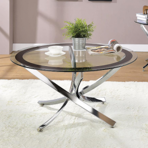 NORWOOD GLASS AND CHROME COFFEE TABLE