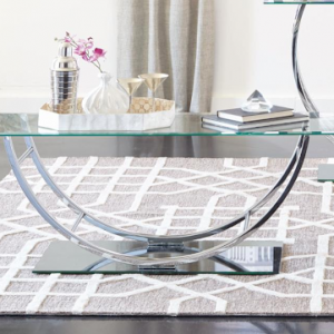AVISION GLASS AND CHROME COFFEE TABLE