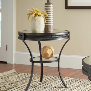 INDUSTRIAL RUSTIC BLACK ROUND END TABLE