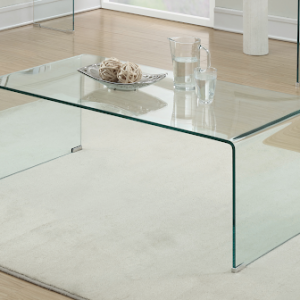 CONTEMPORARY RECTANGULAR GLASS CLEAR COFFEE TABLE