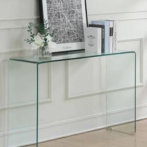 CONTEMPORARY RECTANGULAR GLASS CLEAR SOFA TABLE