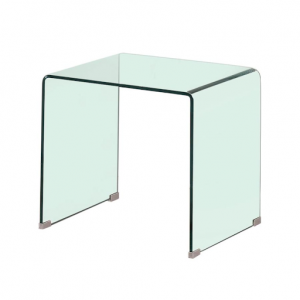 CONTEMPORARY RECTANGULAR GLASS CLEAR END TABLE