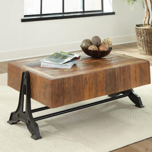 753408 RUSTIC WOOD AND METAL COFFEE TABLE
