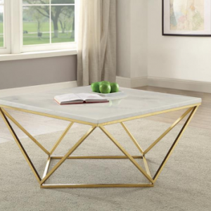 700846 GOLD AND WHITE SQUARE COFFEE TABLE